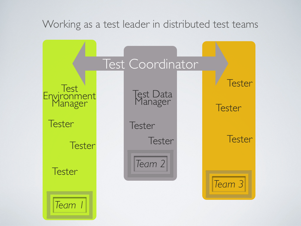 Working as a test leader in distributed test teams