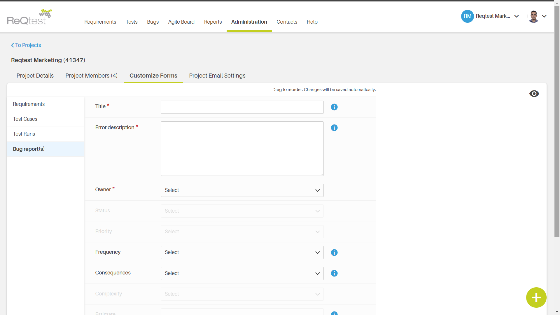Create customised bug report forms for your team.