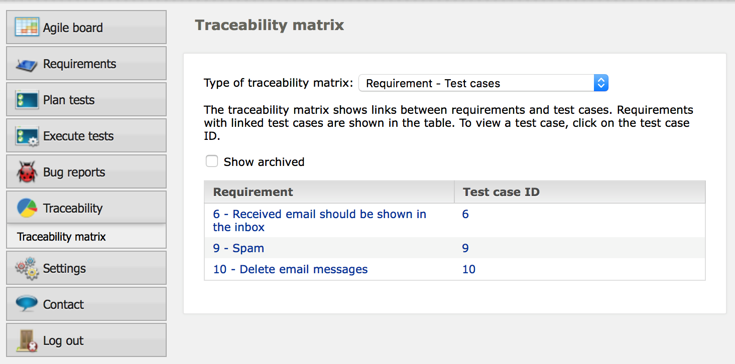 Figure 4 - One-click ability to generate Traceability Matrices